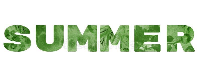 词'夏天' 在白色背景的绿色题字 库存照片