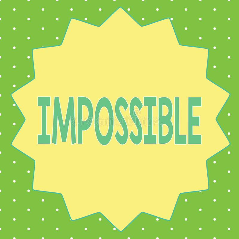 词不可能文字的文本 不能的企业概念能发生存在或是完成的困难挑战性 向量例证