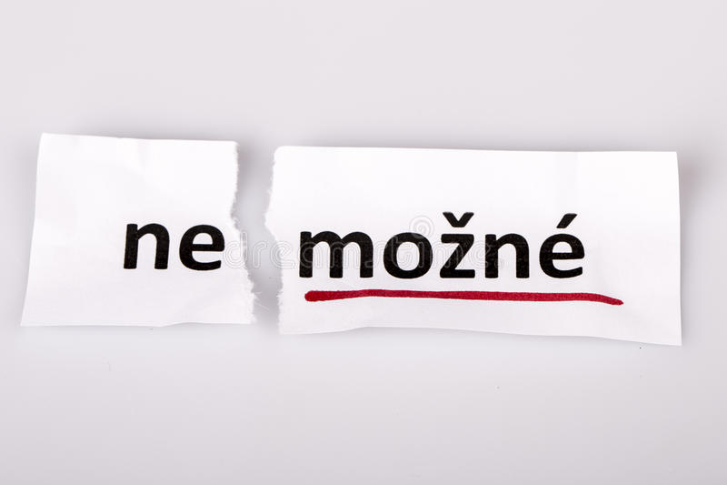 词不可能被改变到可能在捷克 免版税库存照片
