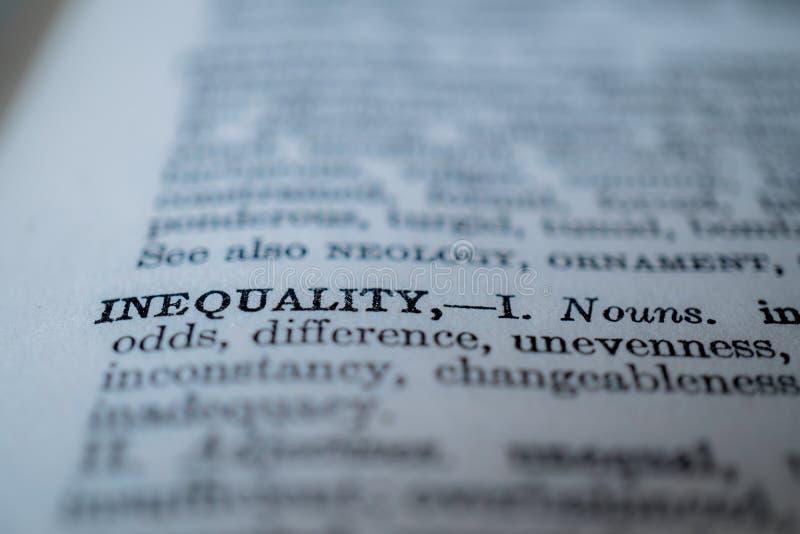 词不平等的特写镜头 免版税库存照片