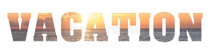 词与海滩的假期文本 免版税库存照片