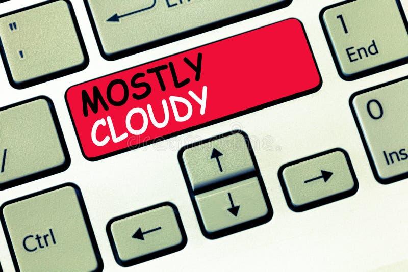 词主要多云文字的文本 朦胧的蒸汽有雾的蓬松暧昧云彩的Skyscape企业概念 库存例证