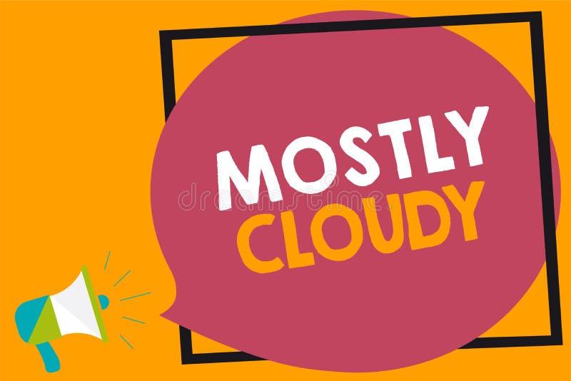 词主要多云文字的文本 朦胧的蒸汽有雾的蓬松暧昧云彩Skyscape扩音机扩音器的企业概念 向量例证