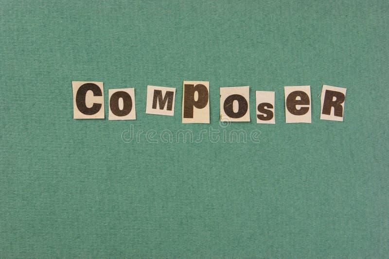词从报纸的作曲家裁减 库存照片