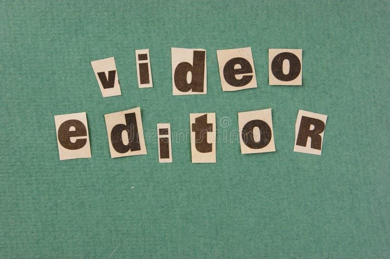 词从报纸的视频编辑器裁减 库存照片
