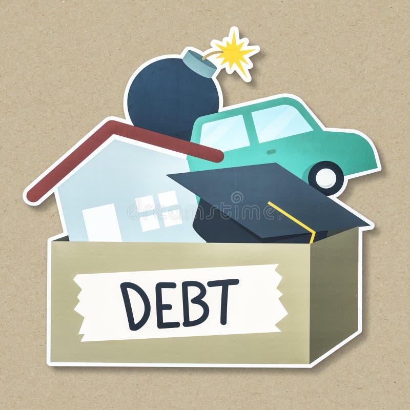 词债务印刷术 向量例证