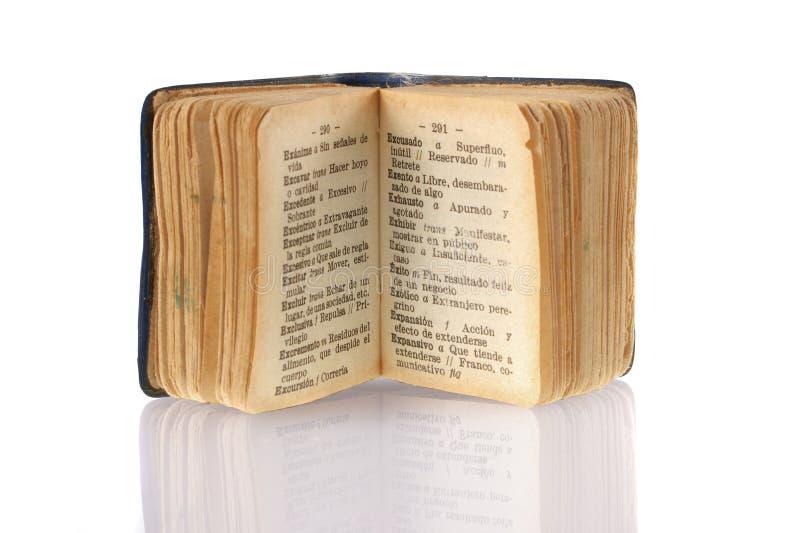 词典集中的微型西班牙成功字 免版税库存照片