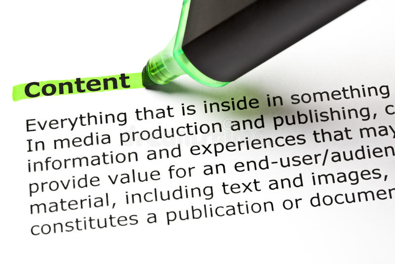 词内容的定义 免版税库存图片