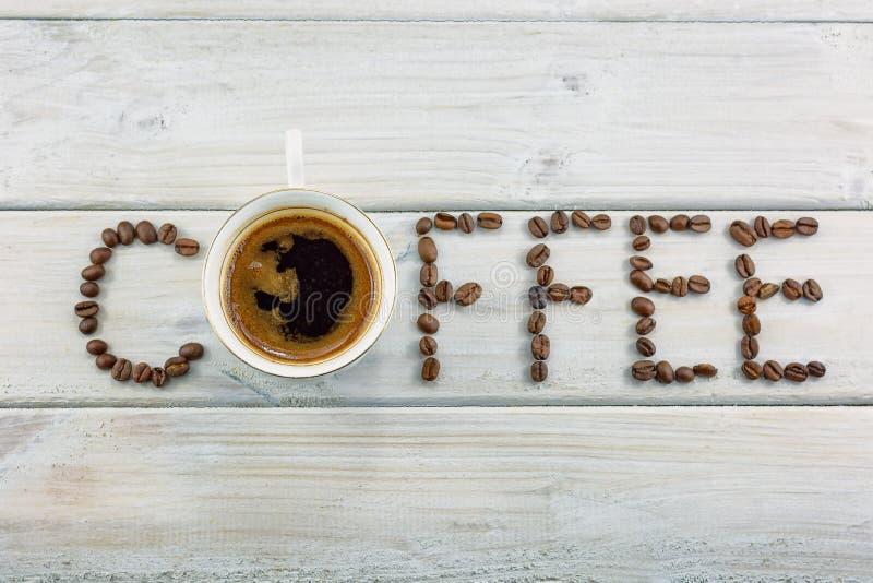 词写用咖啡豆 库存图片