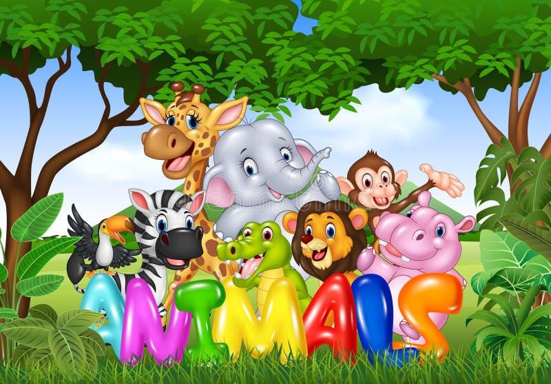 词动物的动画片例证与动画片野生动物的 库存例证