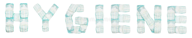 词卫生学计划了在白色背景,孤立,餐巾,题字上的婴孩尿布 库存图片