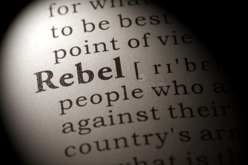 词反叛者的定义 免版税库存照片