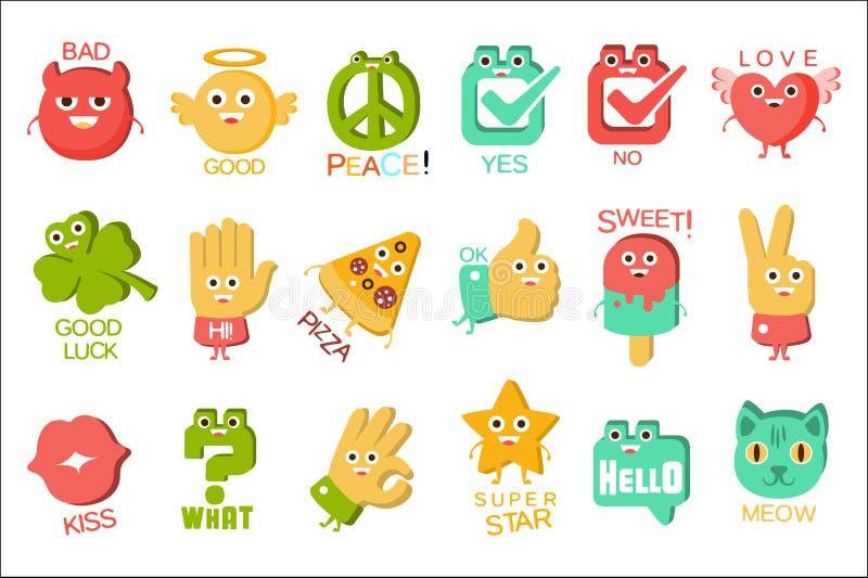 词和对应的例证,与说明文本Emoji集合的眼睛的卡通人物对象 皇族释放例证