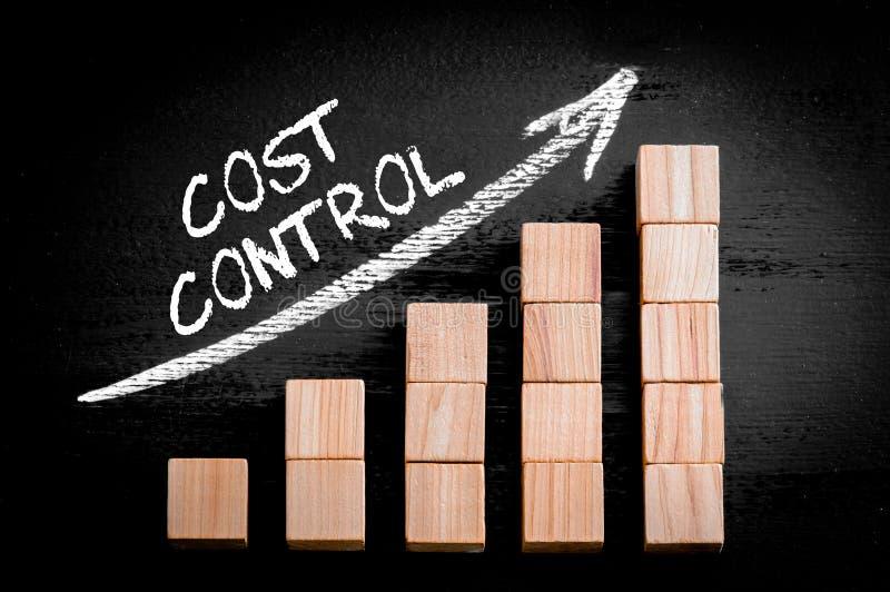 词在上升的箭头的成本控制在长条图上 库存图片