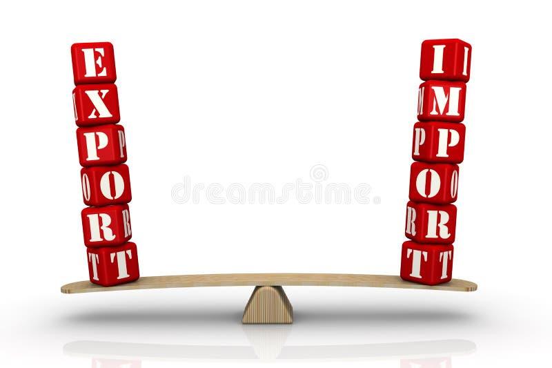 词在等级出口并且进口 出口均等进口 向量例证