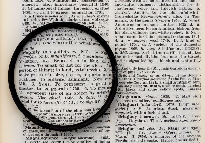 词在通过透镜被观看的字典页扩大化 库存图片