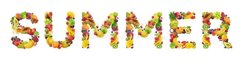 词夏天做了不同的果子和莓果,在白色背景隔绝的果子字体 库存图片