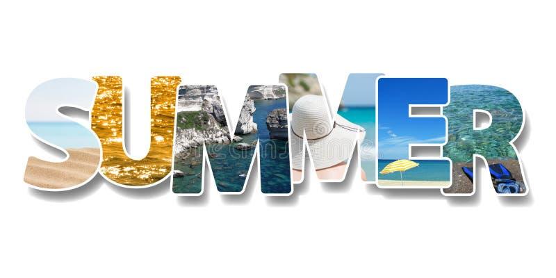 词夏天 有些照片拼贴画在文本的 在海滩概念的假期 免版税图库摄影