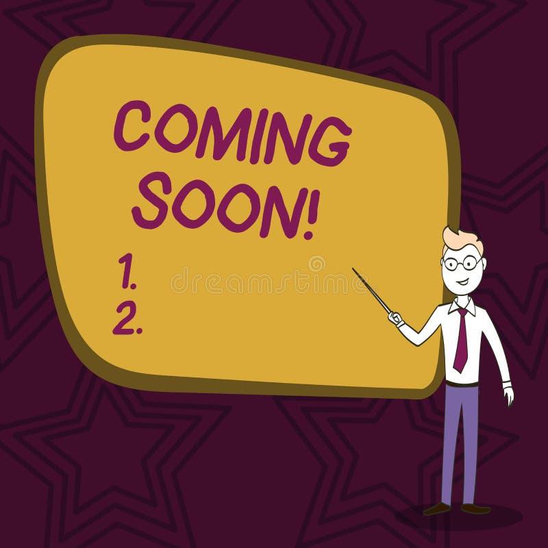 词很快来文字的文本 在确信的短期以后真正地将发生的事件或行动的企业概念 库存例证
