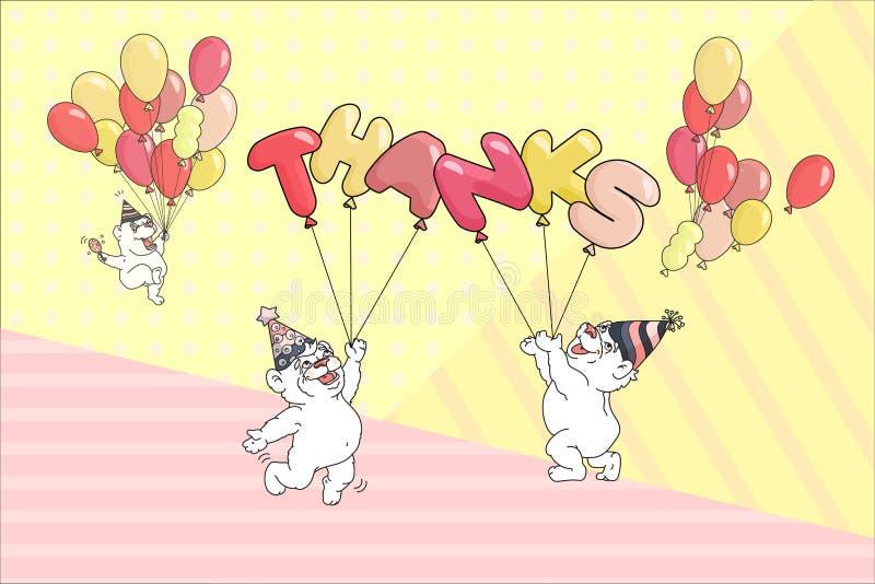词感谢,与气球的逗人喜爱的熊 也corel凹道例证向量 库存例证
