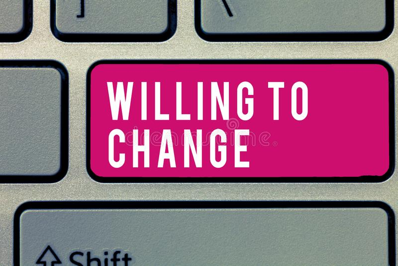 词愿文字的文本改变 欲望的企业概念能增长热切赞成和采取新的想法 免版税库存照片