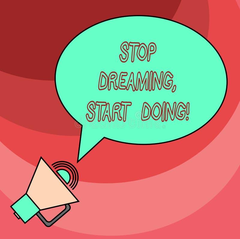 词文字作起动做的文本中止 Put的企业概念您的梦想到行动里实现它空白长圆形 库存例证