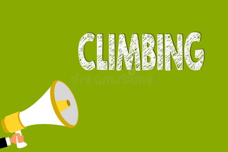 词文字文本上升 登山或峭壁坚硬坚韧人藏品的体育活动的企业概念 库存例证