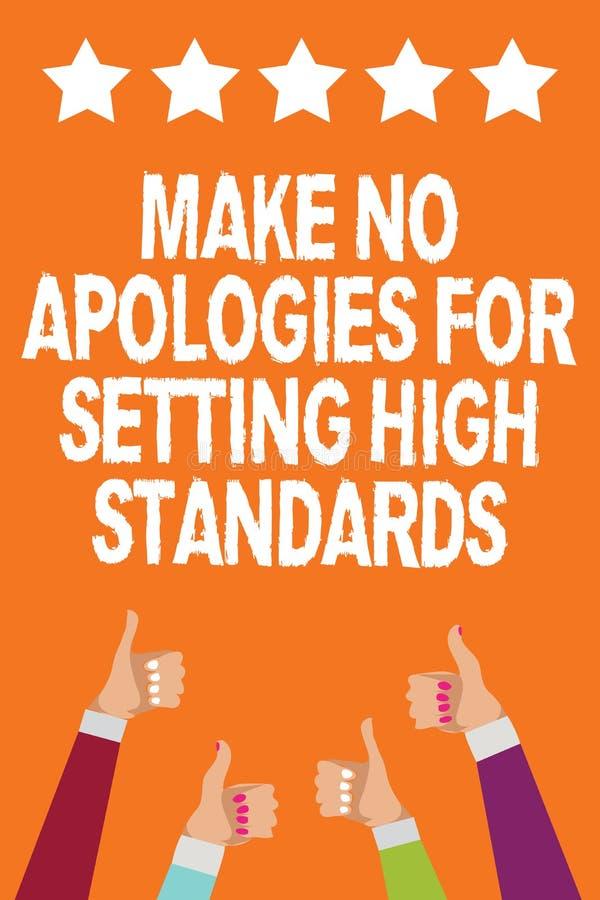 词文字文本不做出为规定高标准的道歉 寻找的质量生产力人妇女手的企业概念 向量例证