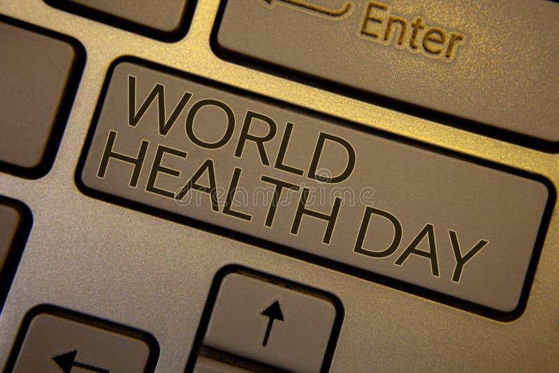 词文字文本世界卫生日 企业概念为健康活动的特别日期关心预防键盘褐色钥匙bl 免版税库存照片