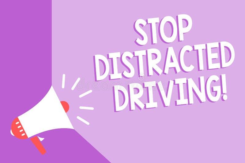 词文字文本中止分散的驾驶 慢要求的企业概念能小心在轮子推进扩音机loudspeak后 皇族释放例证