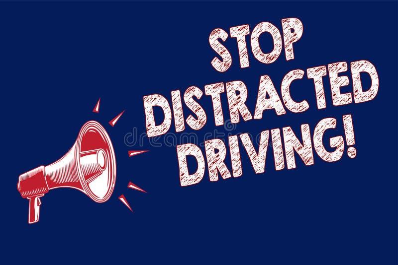 词文字文本中止分散的驾驶 慢要求的企业概念能小心在轮子推进扩音机loudspeak后 库存例证