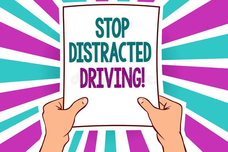 词文字文本中止分散的驾驶 要求的企业概念能小心在轮子驱动后慢慢地供以人员拿着纸我 库存例证