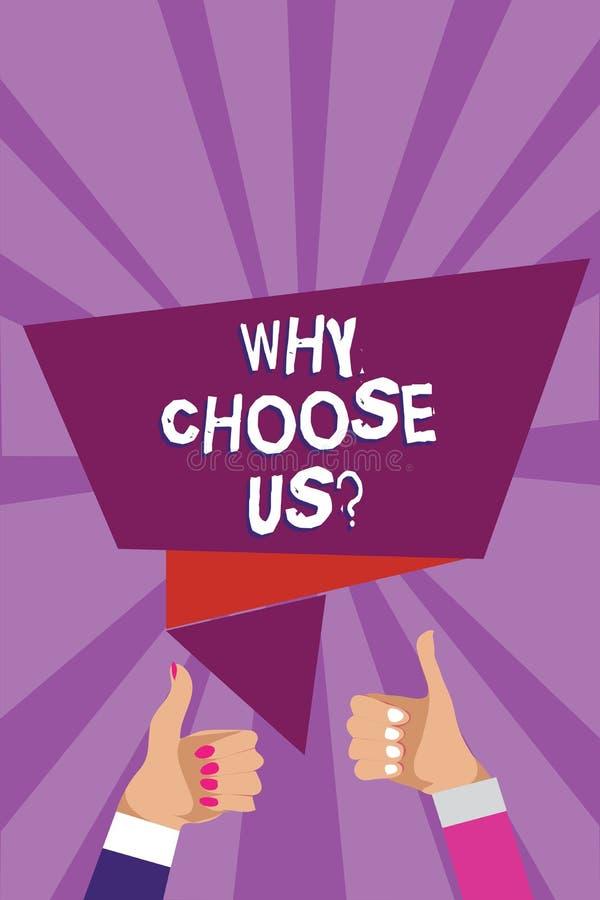 词文字文本为什么选择我们问题 原因的企业概念的选择我们的在其他的品牌论据供以人员妇女手 库存例证