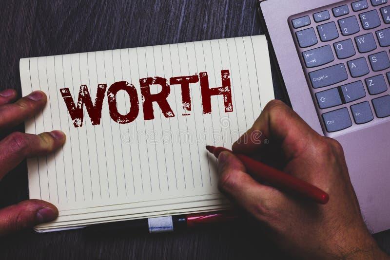 词文字文本价值 个人和财政意义重要性笔记薄记号笔ide的测量的企业概念 免版税库存照片
