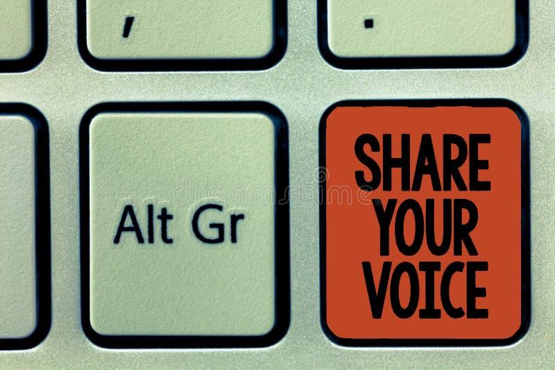 词文字文本份额您的声音 要求的雇员或成员企业概念发表他的意见或建议 库存照片