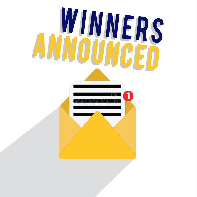 词文字文本优胜者宣布 宣布的谁企业概念赢取了比赛或所有竞争 皇族释放例证