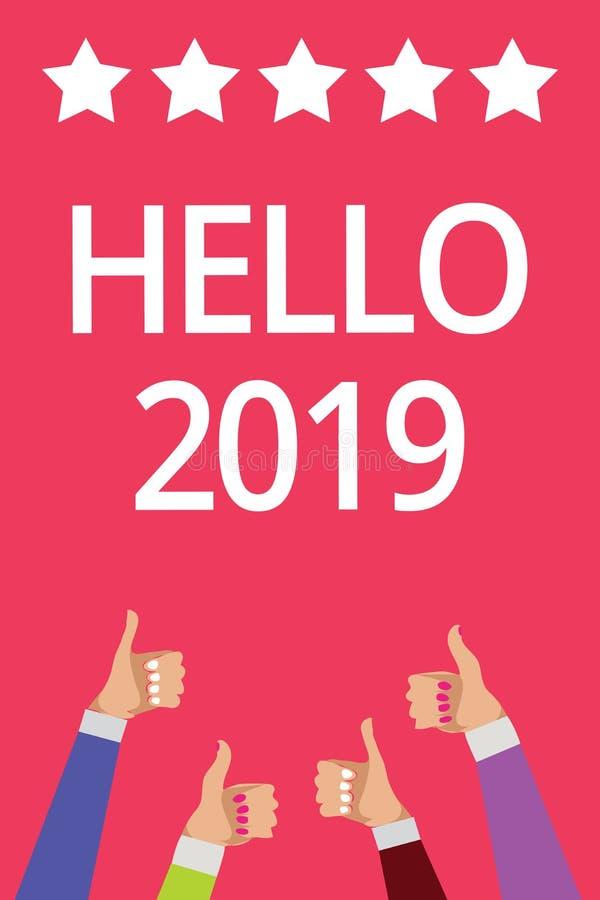 词文字文本你好2019年 盼望的企业概念伟大为来临新年人妇女发生递拇指 向量例证