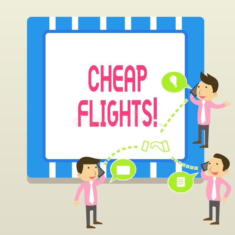 词文字文本便宜的飞行 花费的一点金钱或较少企业概念比通常或期待的飞机票 向量例证