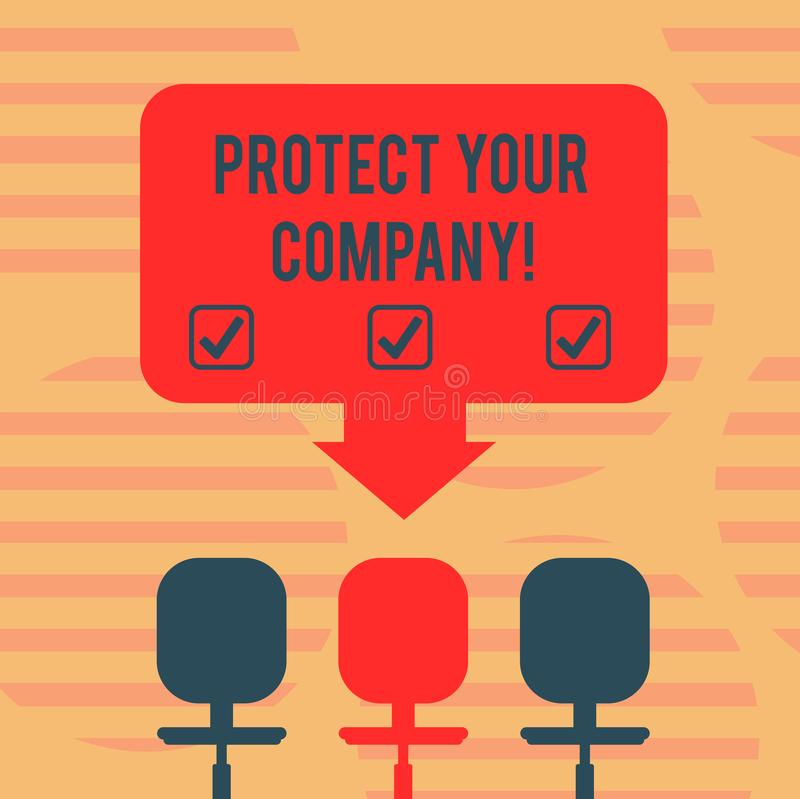 词文字文本保护您的公司 维护的公司空格颜色的正面名誉企业概念 向量例证