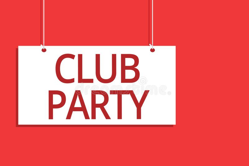 词文字文本俱乐部党 社会汇聚的企业概念在是不拘形式的,并且可能有垂悬委员会的饮料的地方 向量例证
