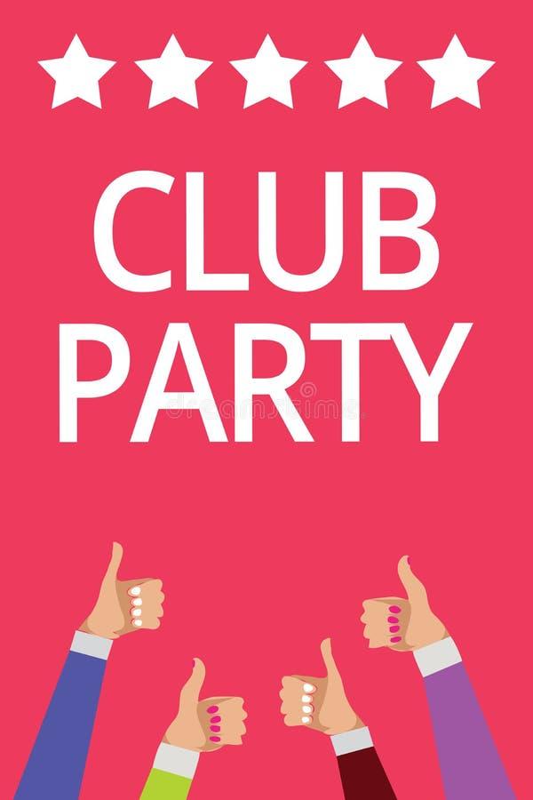 词文字文本俱乐部党 社会汇聚的企业概念在是不拘形式的,并且可能有饮料人妇女手的地方 皇族释放例证