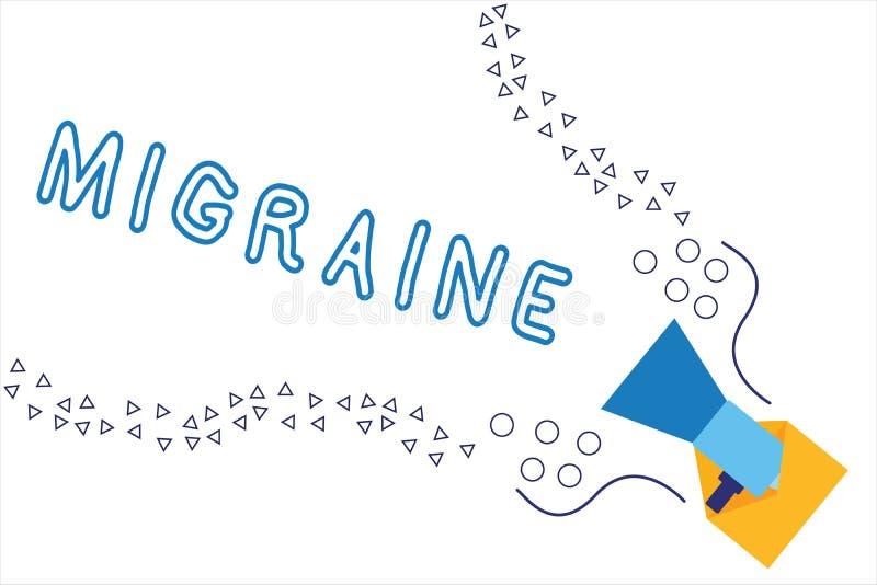 词文字文本偏头痛 影响头的一边的周期性跳动的头疼的企业概念 向量例证