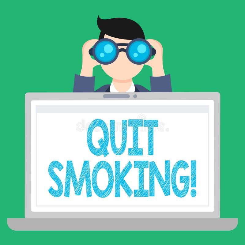 词文字文本停止抽烟 中断烟草和其他吸烟者人藏品的过程的企业概念 皇族释放例证