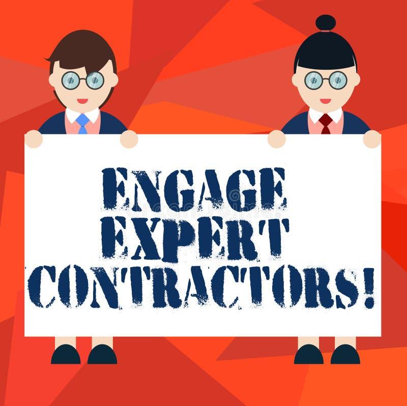 词文字文本允诺专家的承包商 聘用的熟练的outworkers的企业概念短时间运作男性和女性 皇族释放例证