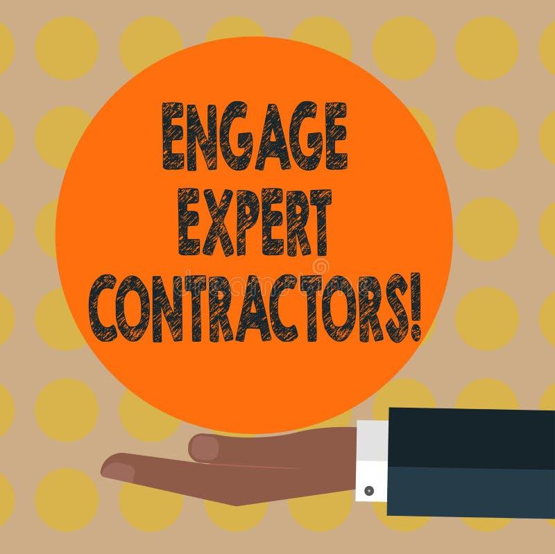 词文字文本允诺专家的承包商 聘用的熟练的outworkers的企业概念短时间运作胡分析手 向量例证