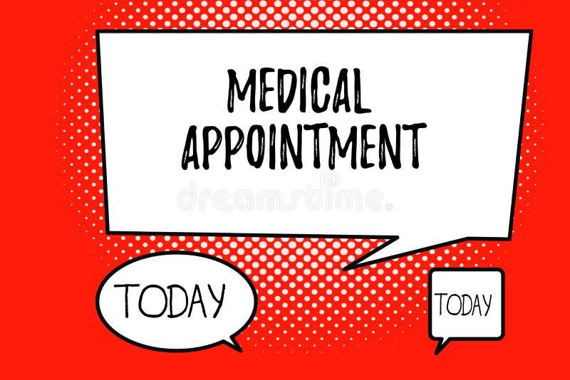 词文字文本医疗任命 会议的企业概念与一位审查的或其他医疗保健专家 皇族释放例证