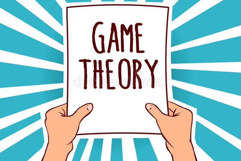 词文字文本博奕论 与对战略的分析有关的数学分支的企业概念供以人员拿着纸 库存例证