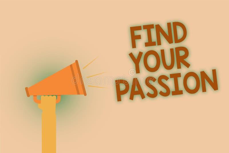词文字文本发现您的激情 寻求梦想的企业概念发现最佳的工作或活动做什么您爱手棕色大声的s 库存例证