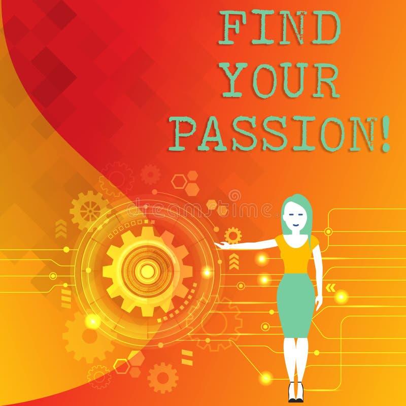 词文字文本发现您的激情 没有其他失业的企业概念不找到复杂的梦想职业妇女 库存例证