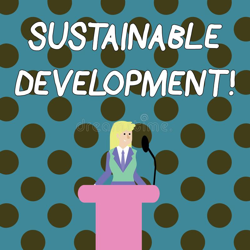 词文字文本可持续发展 开发的企业概念没有自然资源的取尽 库存例证